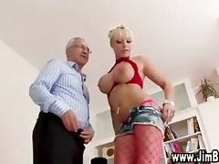 busty golden-haired in nylons receives off