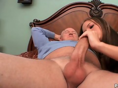 youthful autumn skye receives gangbanged by old