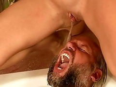 old man and youthful girl pissing and fucking