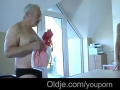 old rich grandpa copulates his juvenile dummy maid