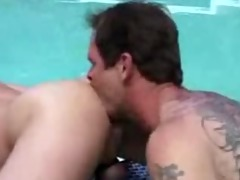 daddy fucks younger in pool