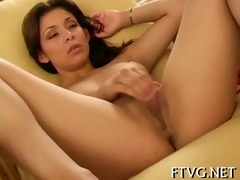 cutie plays with 1 dildos