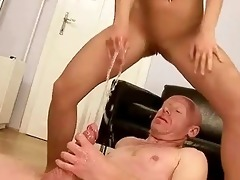 grand-dad fucking and peeing on young beauty