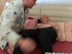 bulky grandmother receives dick up her butt