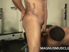 muscle men teasing every others jock