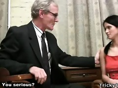 gorgeous youthful student tempted by an old fart