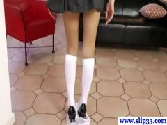 sexy diminutive euro legal age teenager rubs her