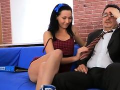 tricky teacher seducing impressive student