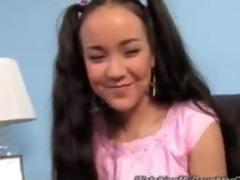 cute oriental daughter drilled by dark lad