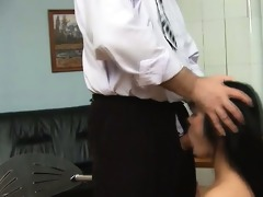 old slaver is taming cute babe