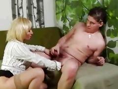 mature blond snatch rub and sucks younger boy