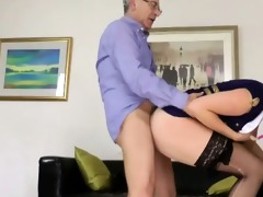 blond chick doggy style with old guy