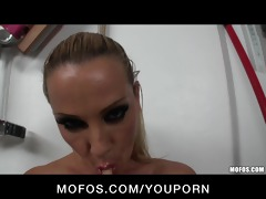 naught large tit blond fingers her ass and