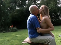 granddad cleans and fuck alexis\s hairless snatch