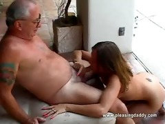 gal acquires face hole drilled by old guy