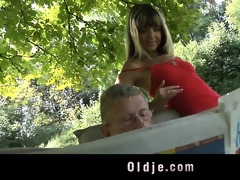 juvenile naughty blond seduces and bonks older man