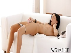 hottie caresses by fake dick